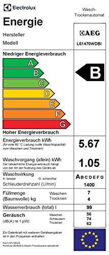 AEG L61470WDBI Waschtrockner Frontlader / Waschmaschine (7 kg) mit Trockner (4 kg) / vollintegrierbare Einbauwaschmaschine mit Wäschetrockner / Kindersicherung und AquaControl / Energieklasse B (1134 kWh/Jahr) / weiß